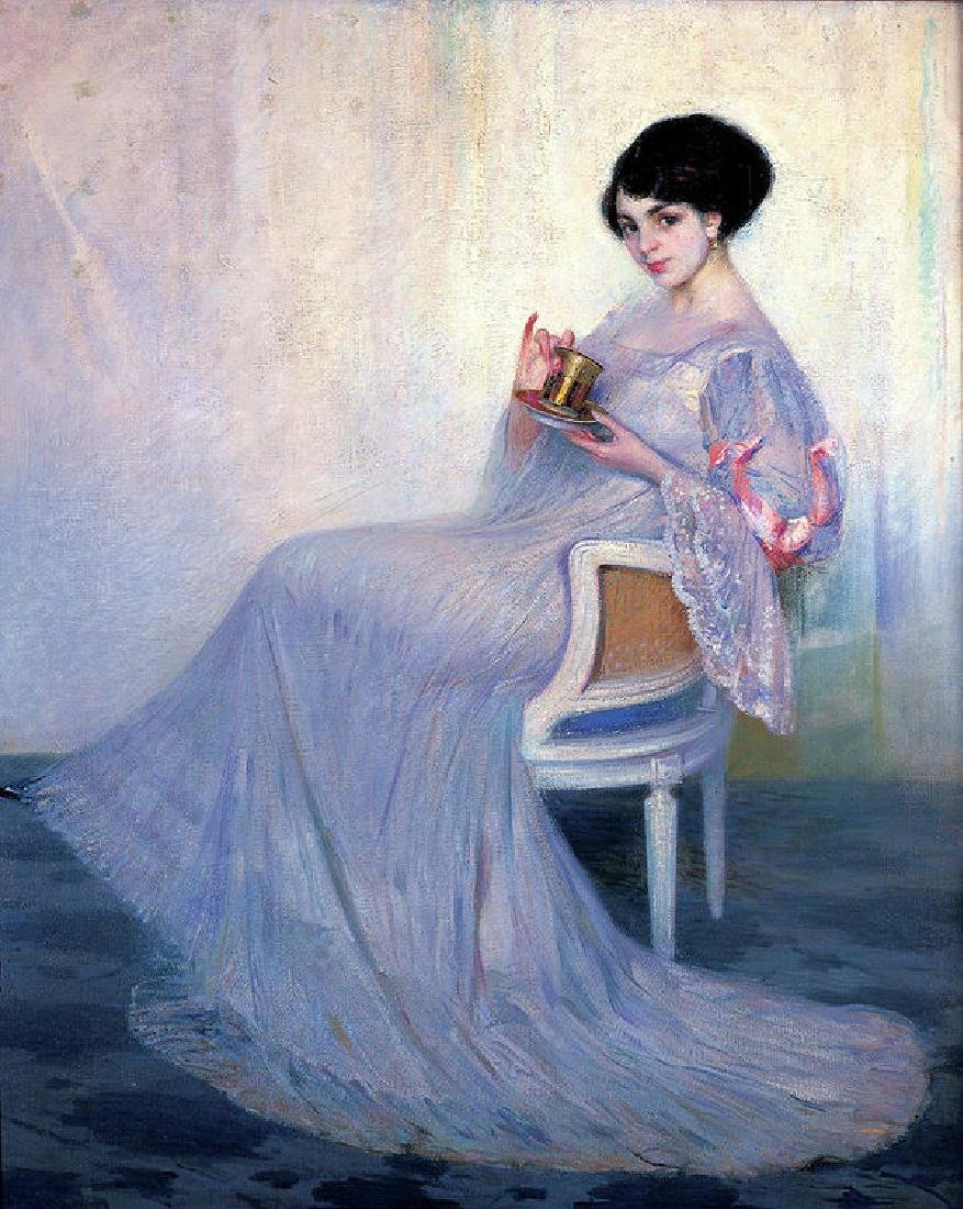 Young Woman Drinking Tea Oil Painting on Canvas