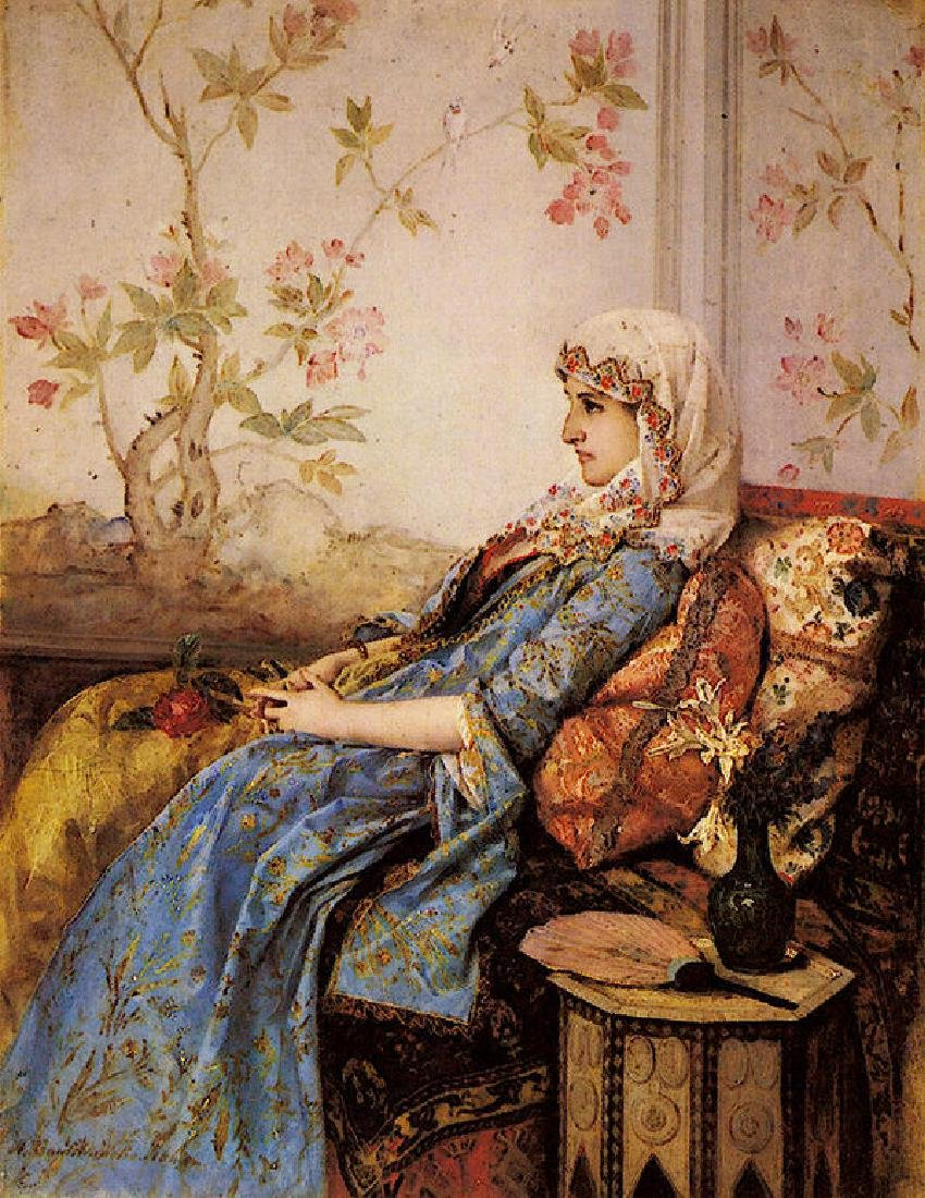 Toulmouche Auguste An Exotic Beauty In An Interior Oil