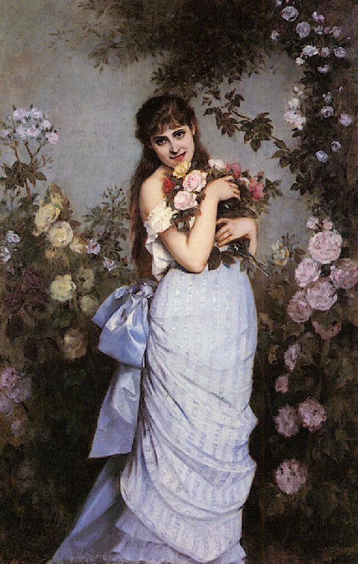 Toulmouche Auguste A Young Woman In A Rose Garden Oil