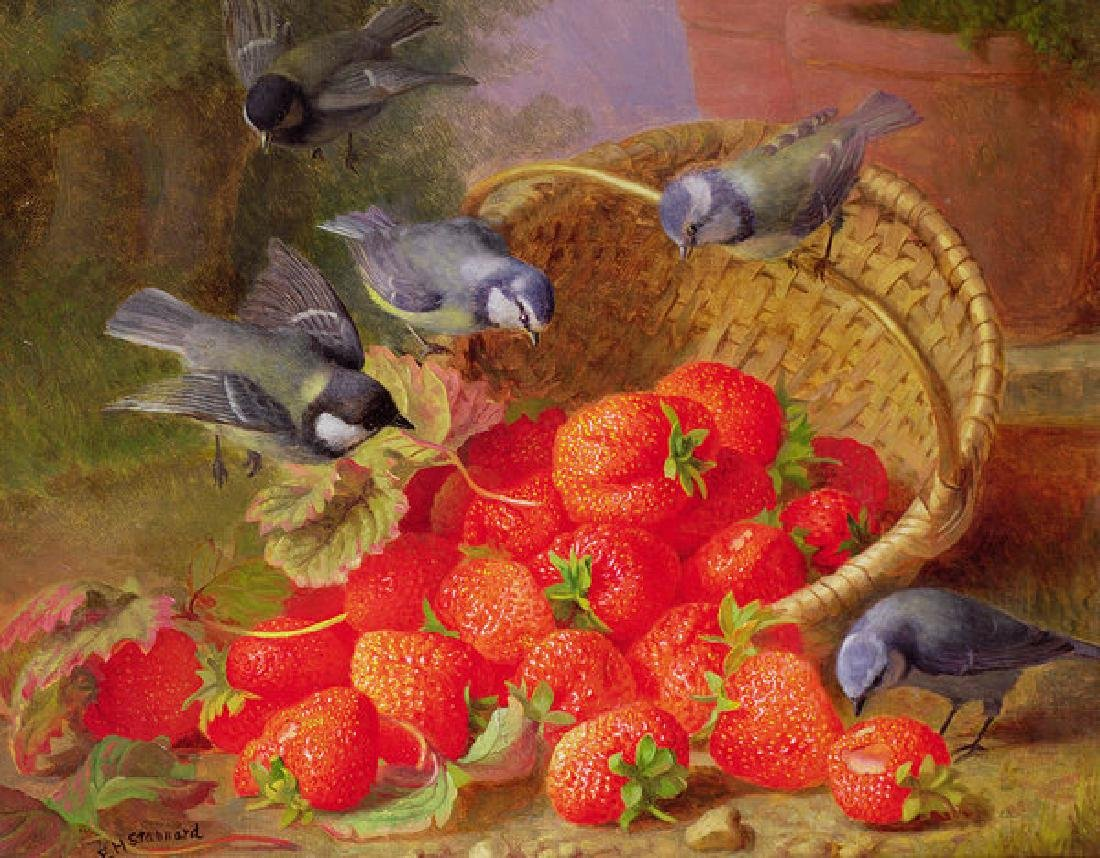 Still Life With Strawberries And Bluetits Oil Painting