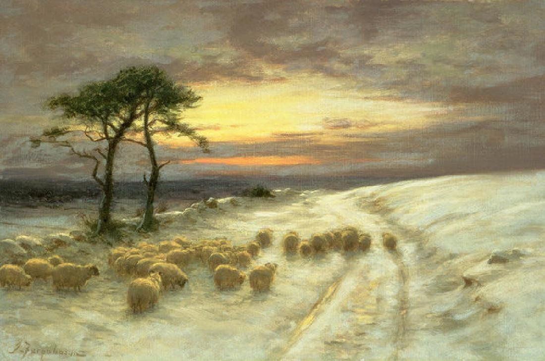 Sheep In The Snow Oil Painting on Canvas