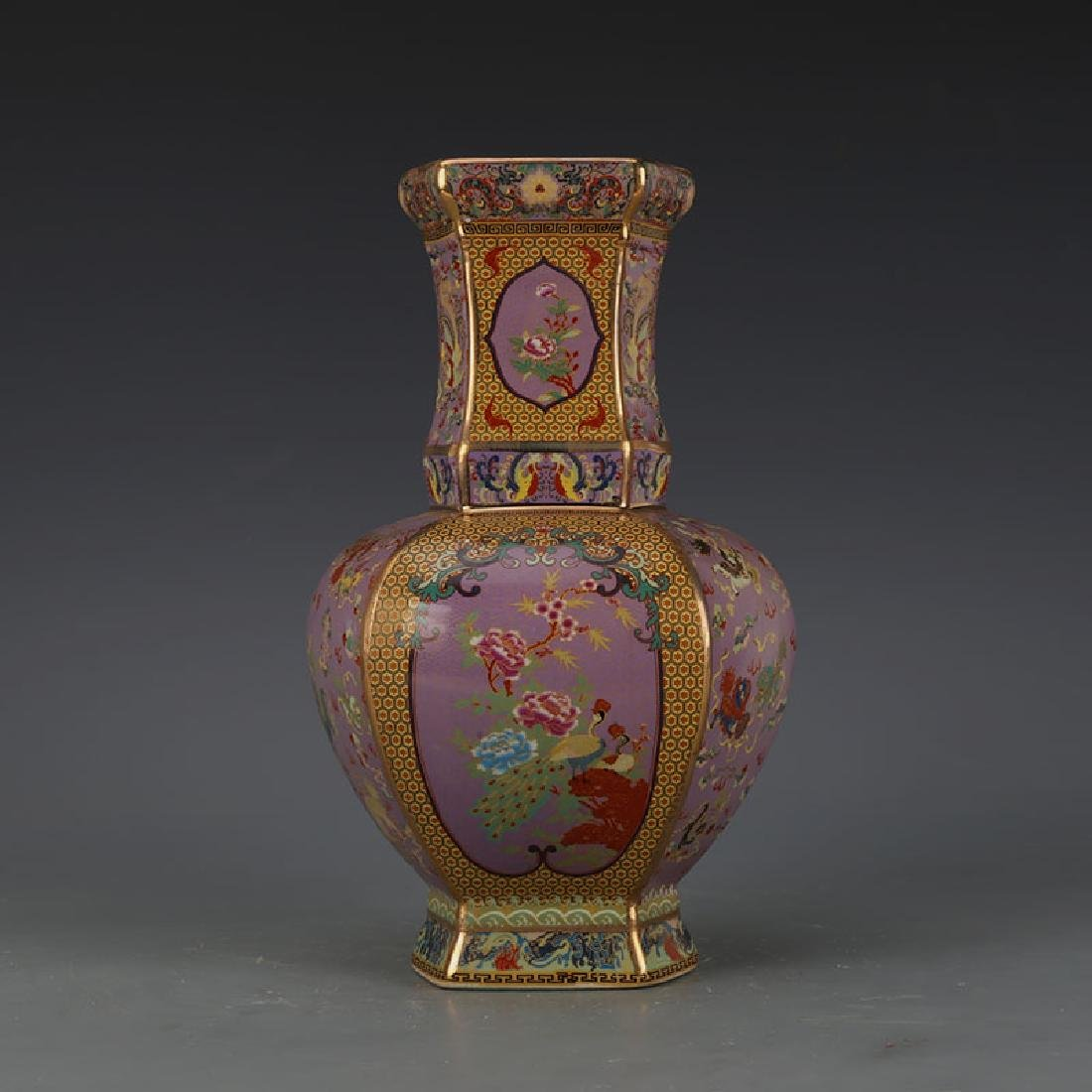 Chinese Qianlong Time Famille-Rose Porcelain Vase With