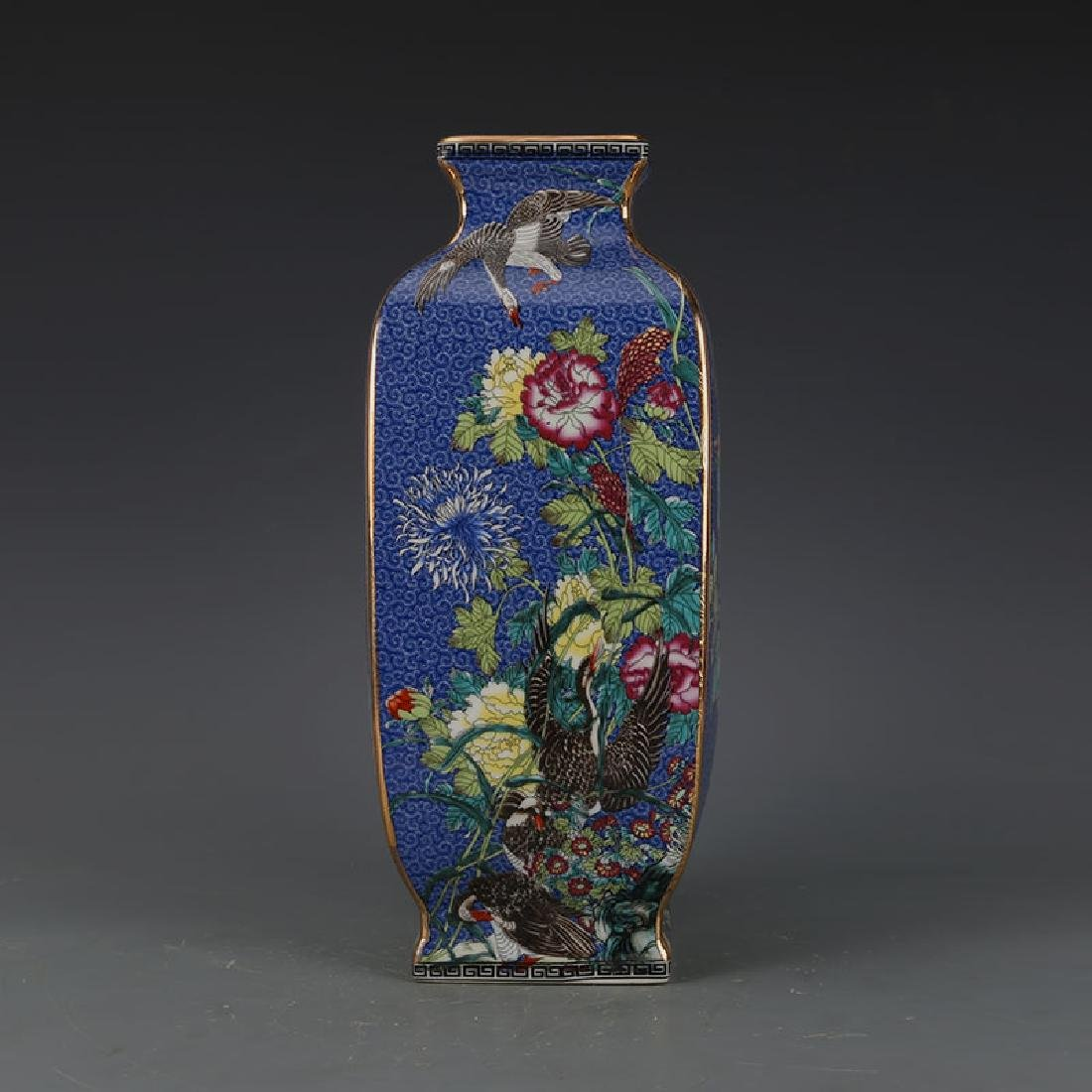 Chinese Qianlong Time Blue Ground Porcelain Square Vase