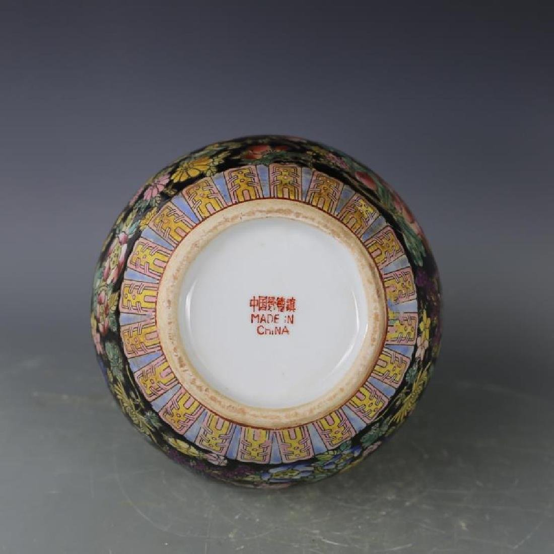 Chinese Antique Black Ground Famille-Rose Porcelain - 5