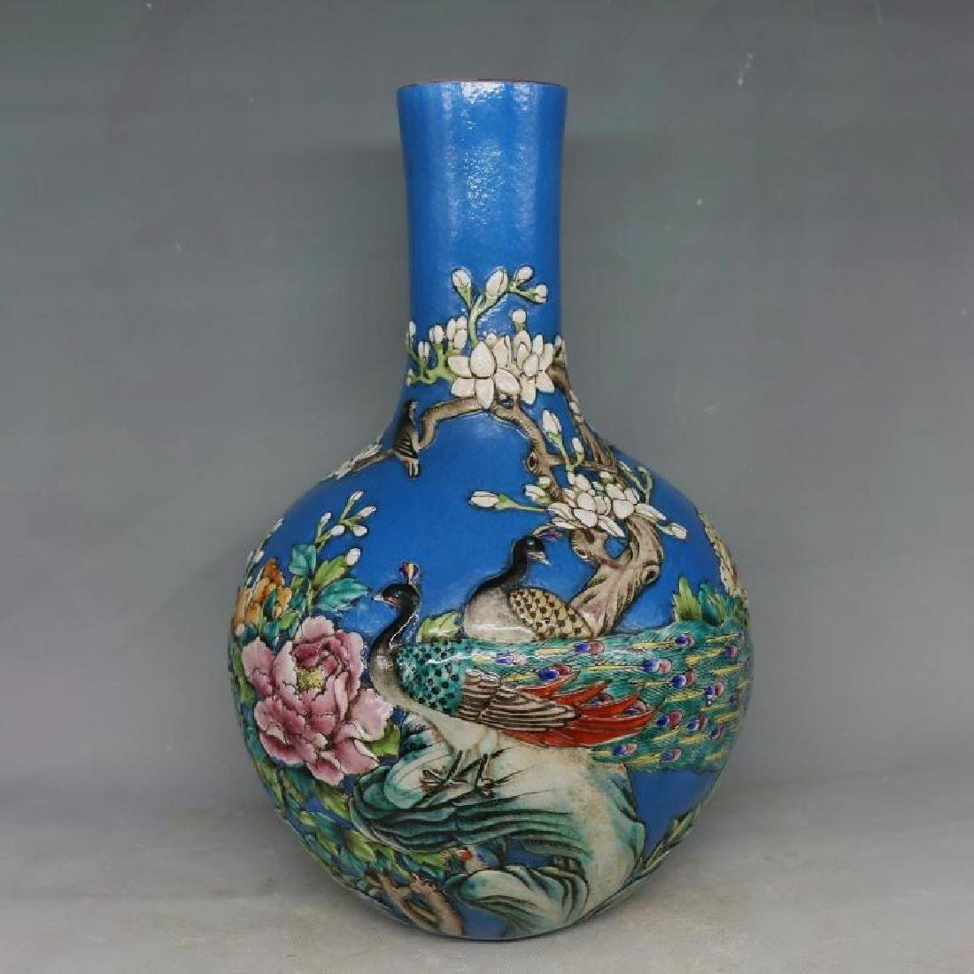 Chinese Qing Dynasty Qianlong Time Blue Ground