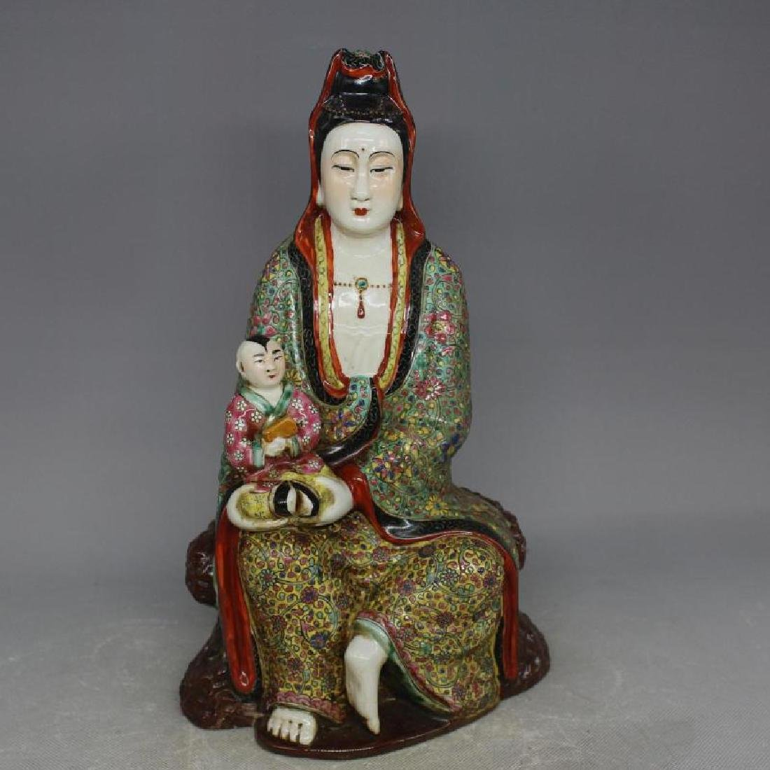 Chinese Republic Of China Porcelain Guanyin Statue