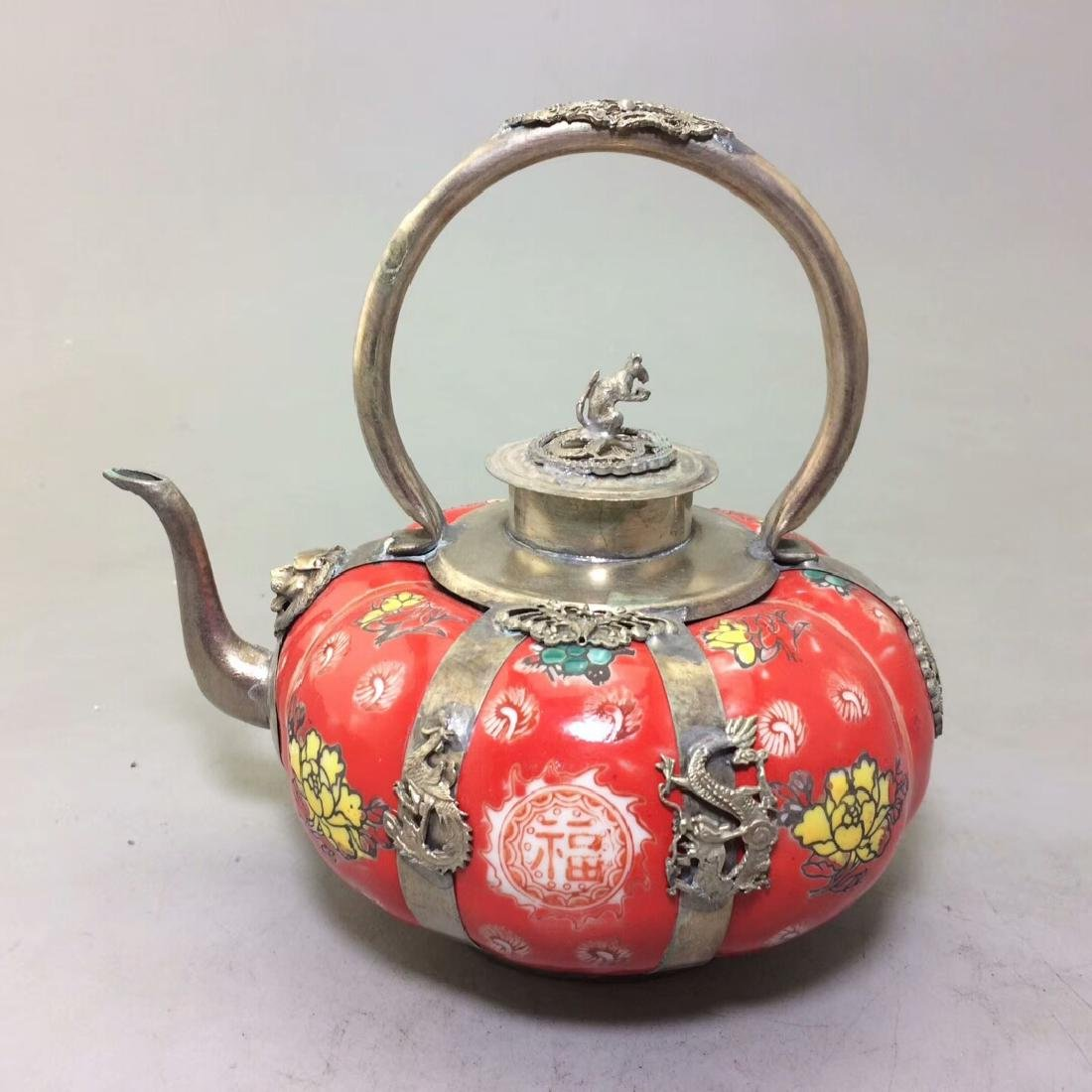 Chinese Antique Porcelain Tea Pot Wrapped With Silver