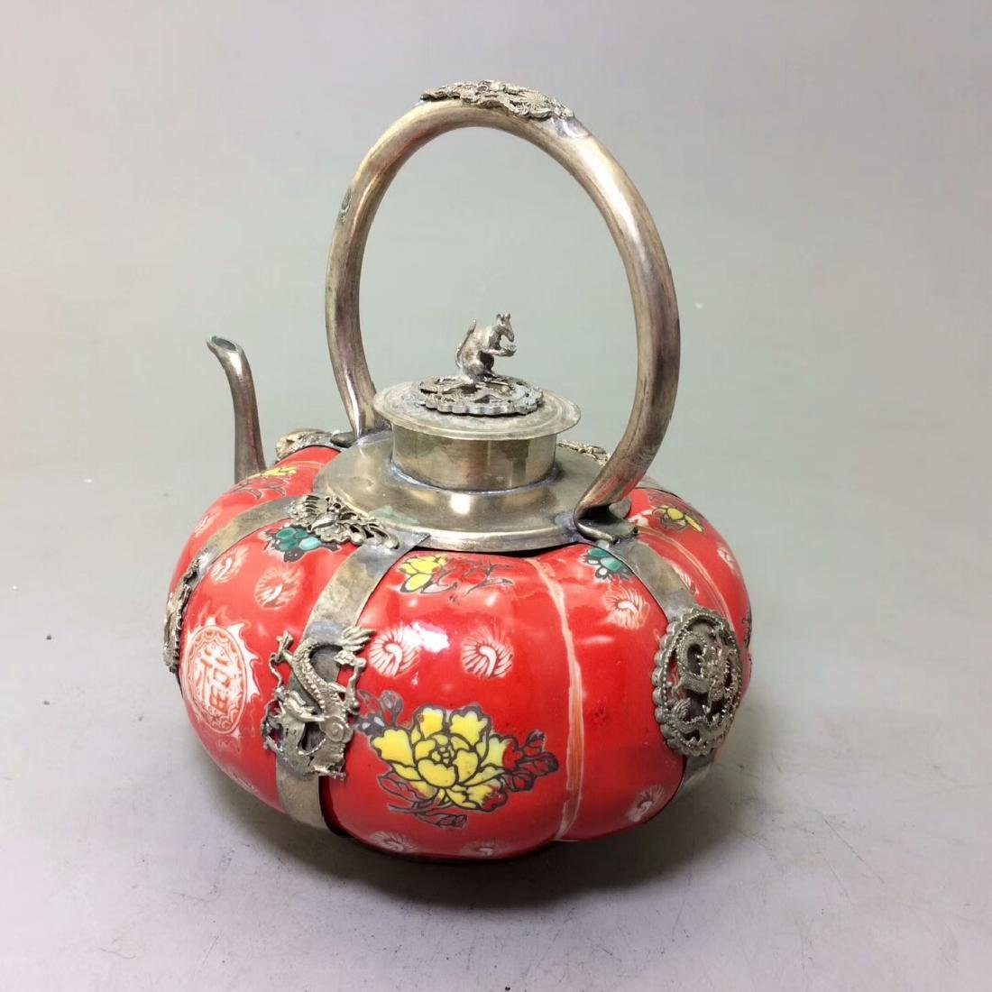 Chinese Antique Porcelain Tea Pot Wrapped With Silver - 2
