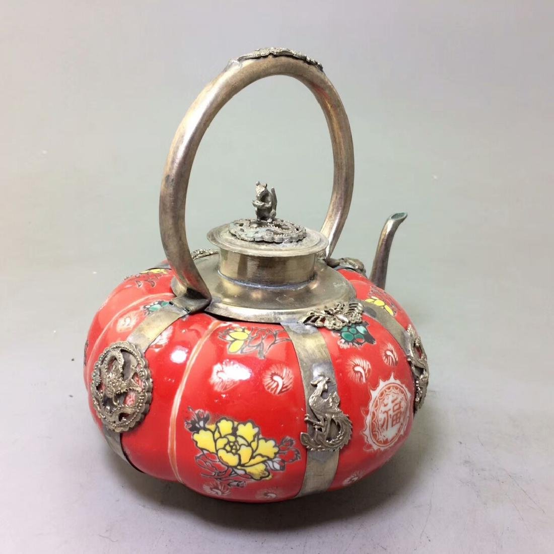 Chinese Antique Porcelain Tea Pot Wrapped With Silver - 3
