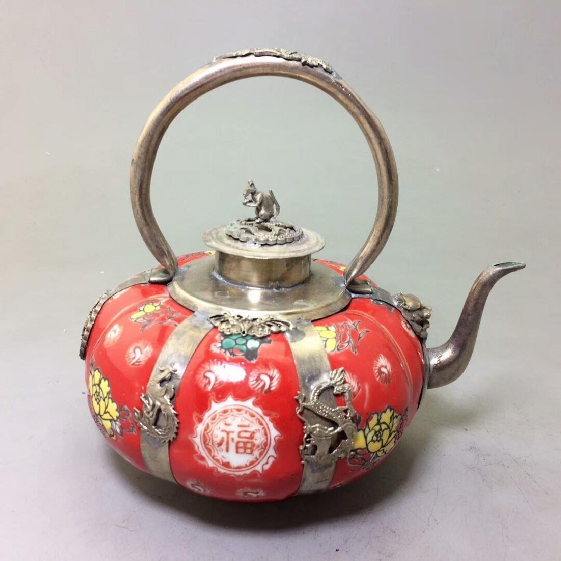 Chinese Antique Porcelain Tea Pot Wrapped With Silver - 4
