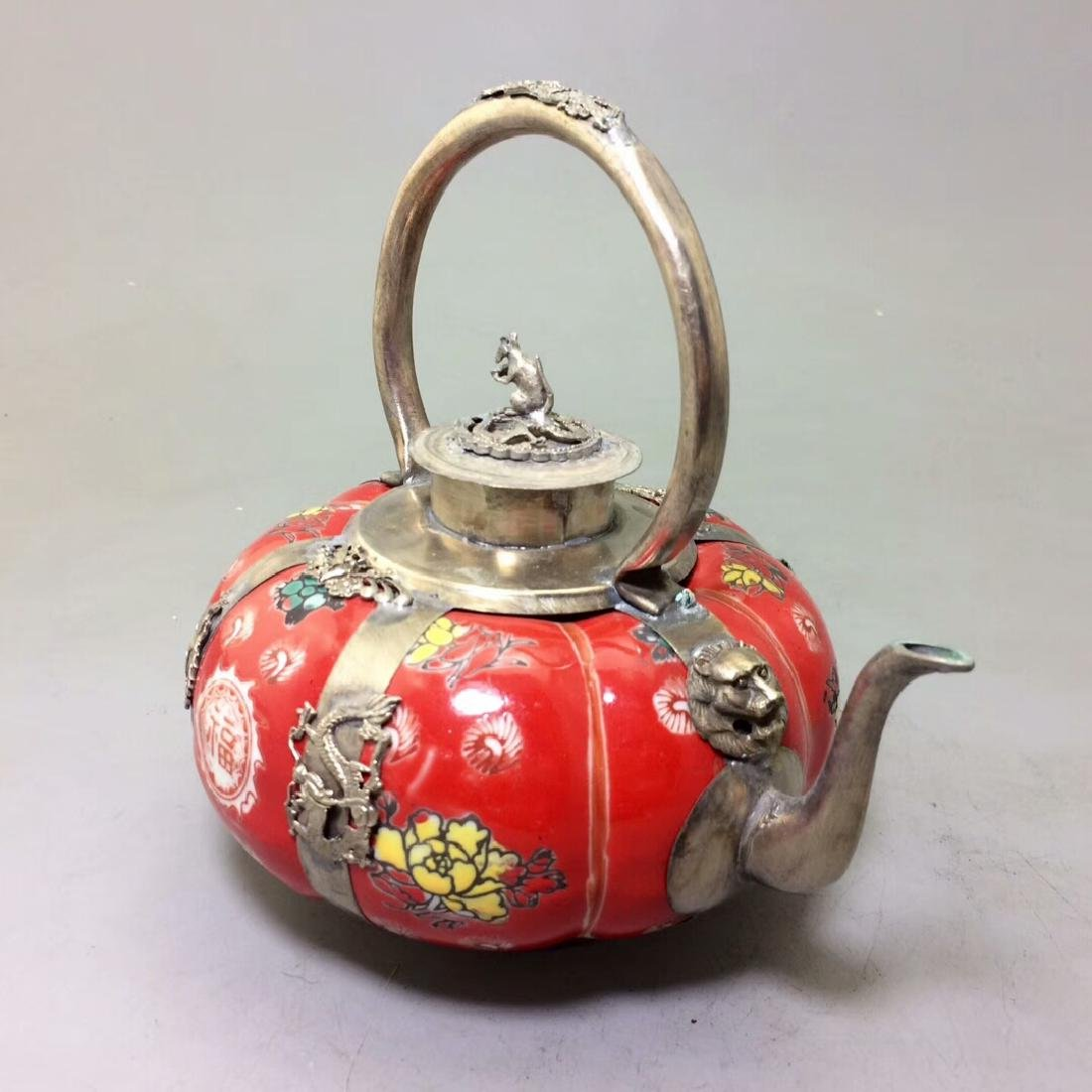 Chinese Antique Porcelain Tea Pot Wrapped With Silver - 5