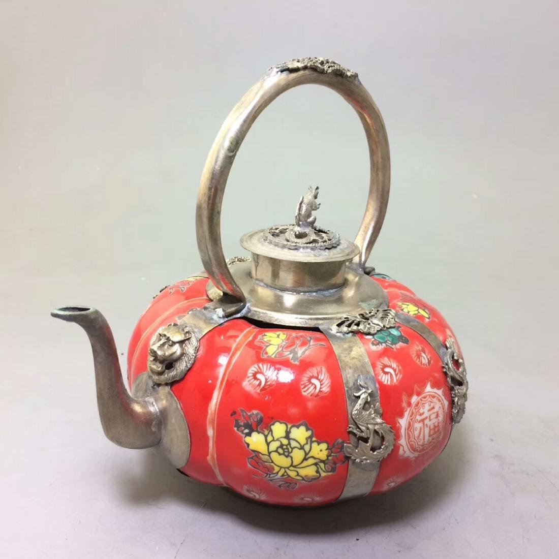 Chinese Antique Porcelain Tea Pot Wrapped With Silver - 6