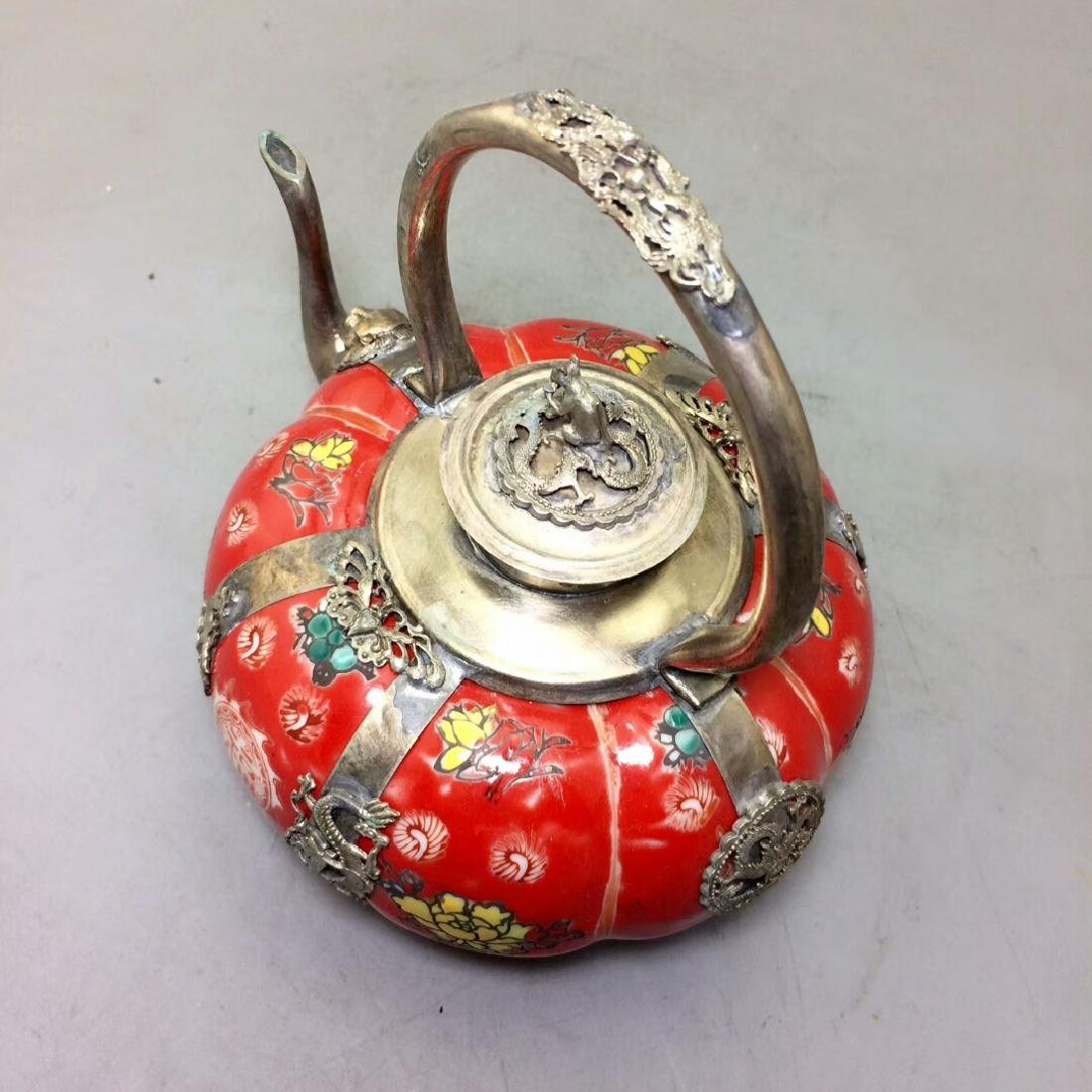 Chinese Antique Porcelain Tea Pot Wrapped With Silver - 7