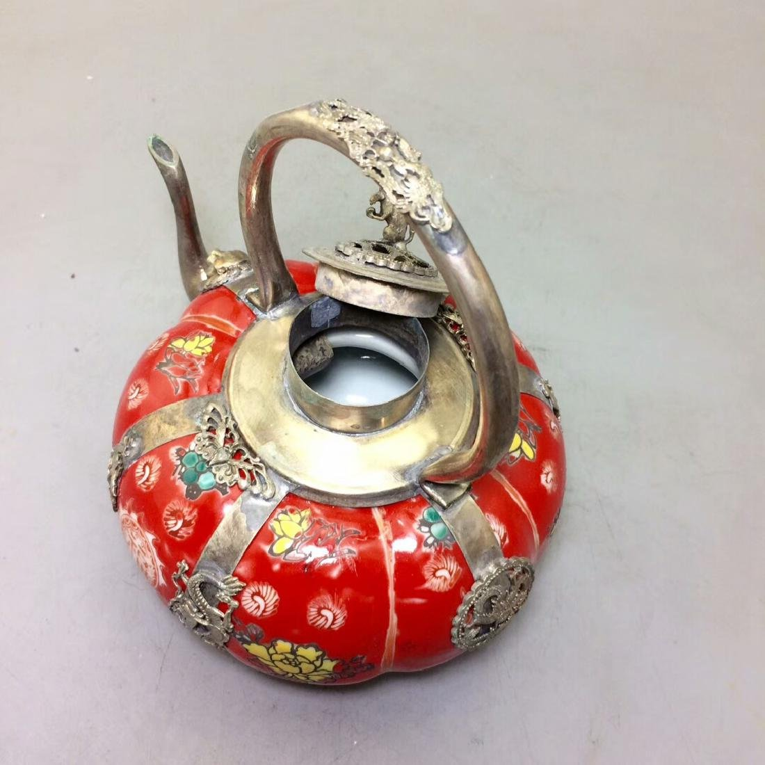 Chinese Antique Porcelain Tea Pot Wrapped With Silver - 8