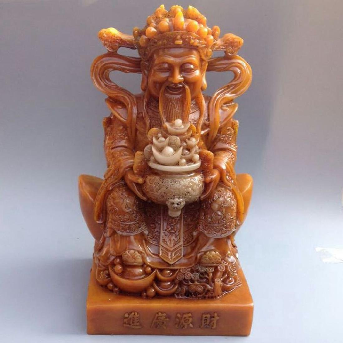 Chinese Antique Shoushan Stone God Of Fortune Statue
