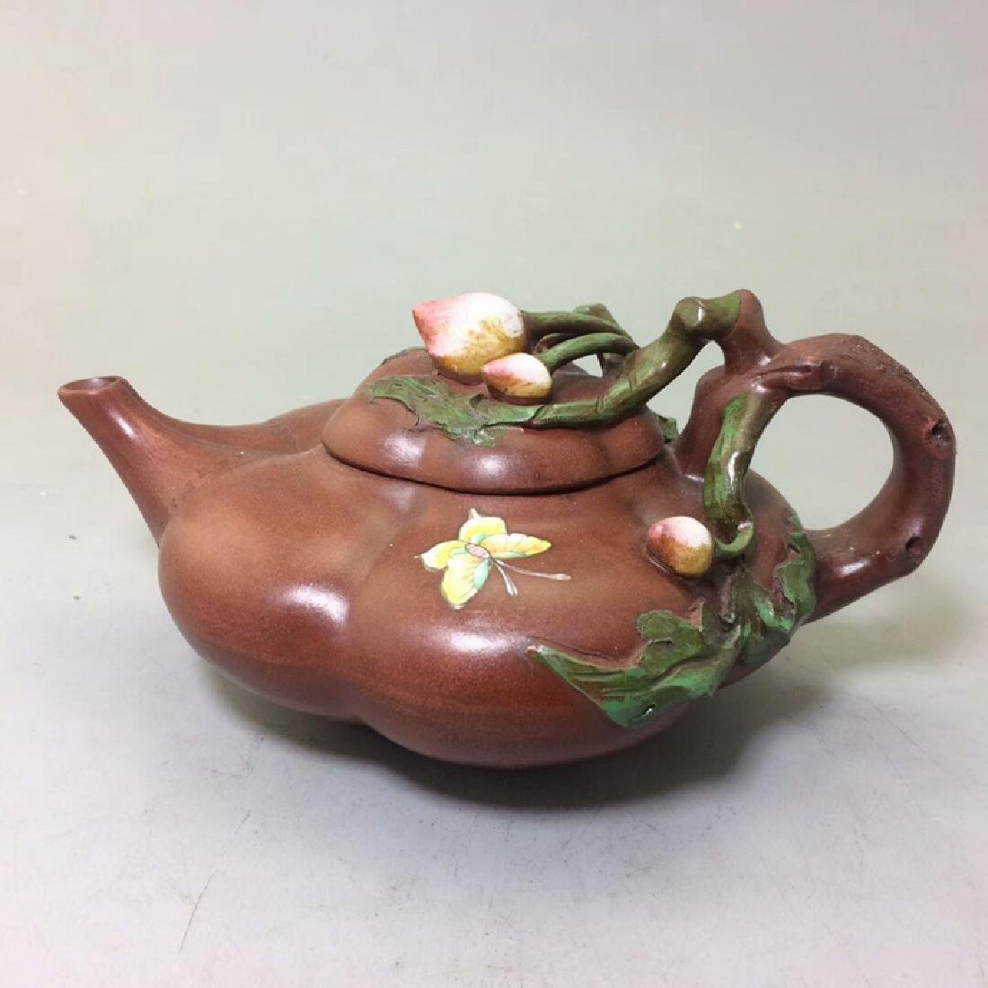Chinese Antique Yixing Purple Sand Pot With Peach