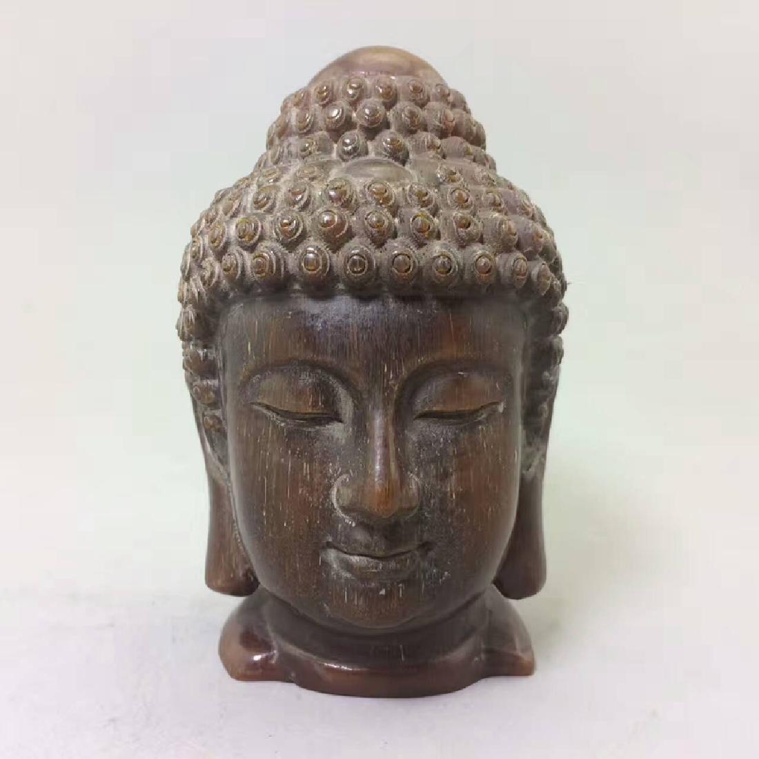 Chinese Antique Bull Horn Buddha Head