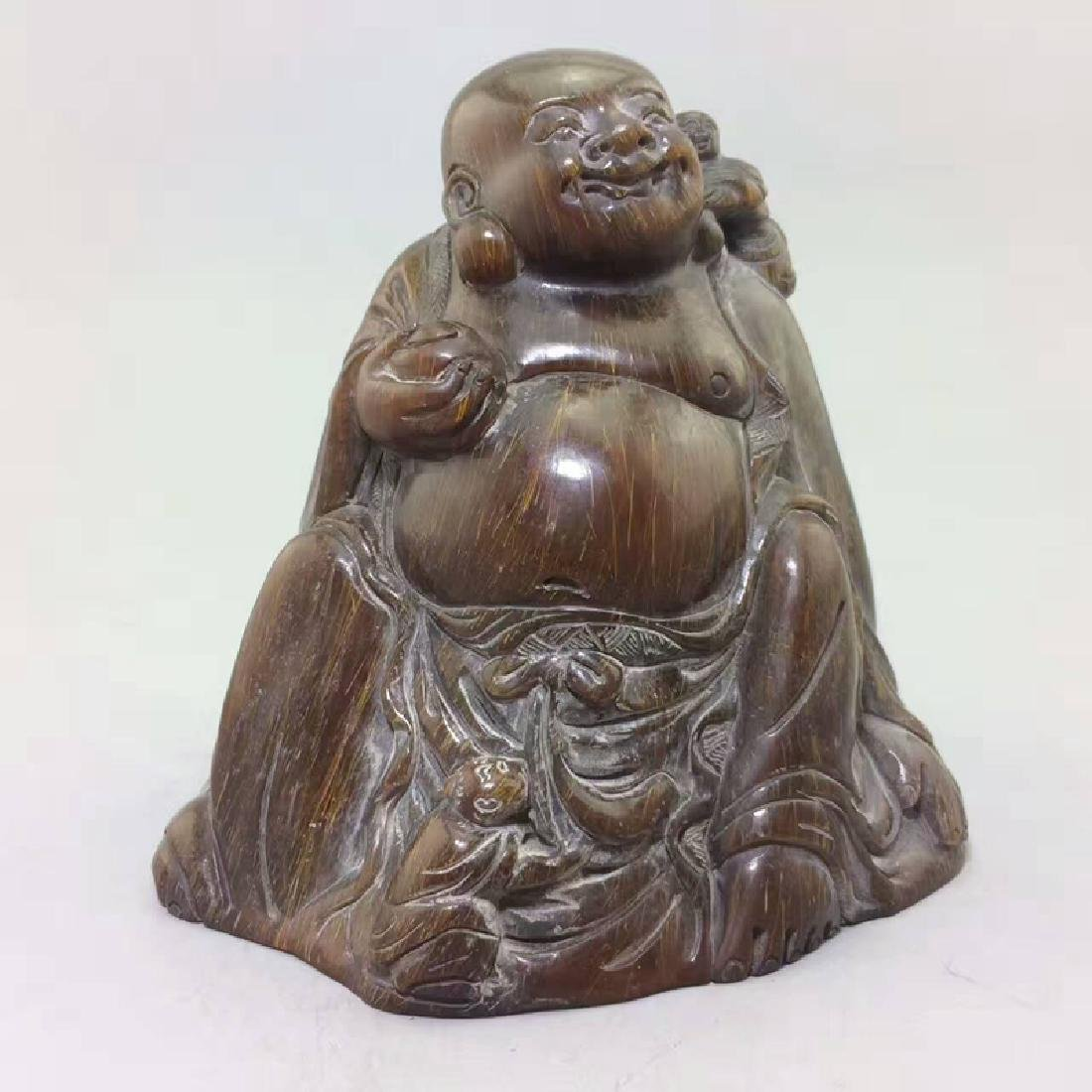 Chinese Antique Bull Horn Buddha Statue