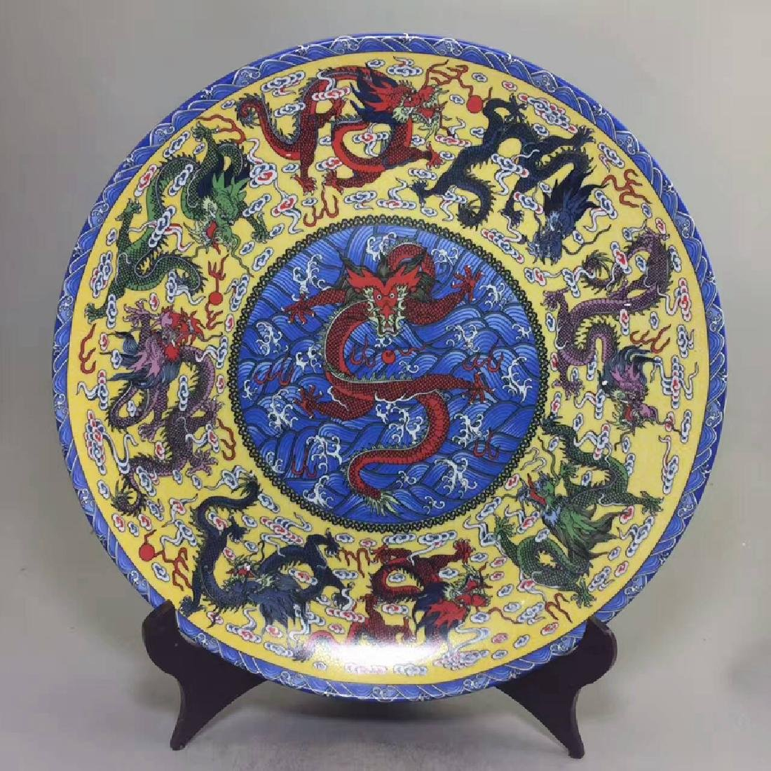 Chinese Antique Porcelain Plate With Dragon Decoration