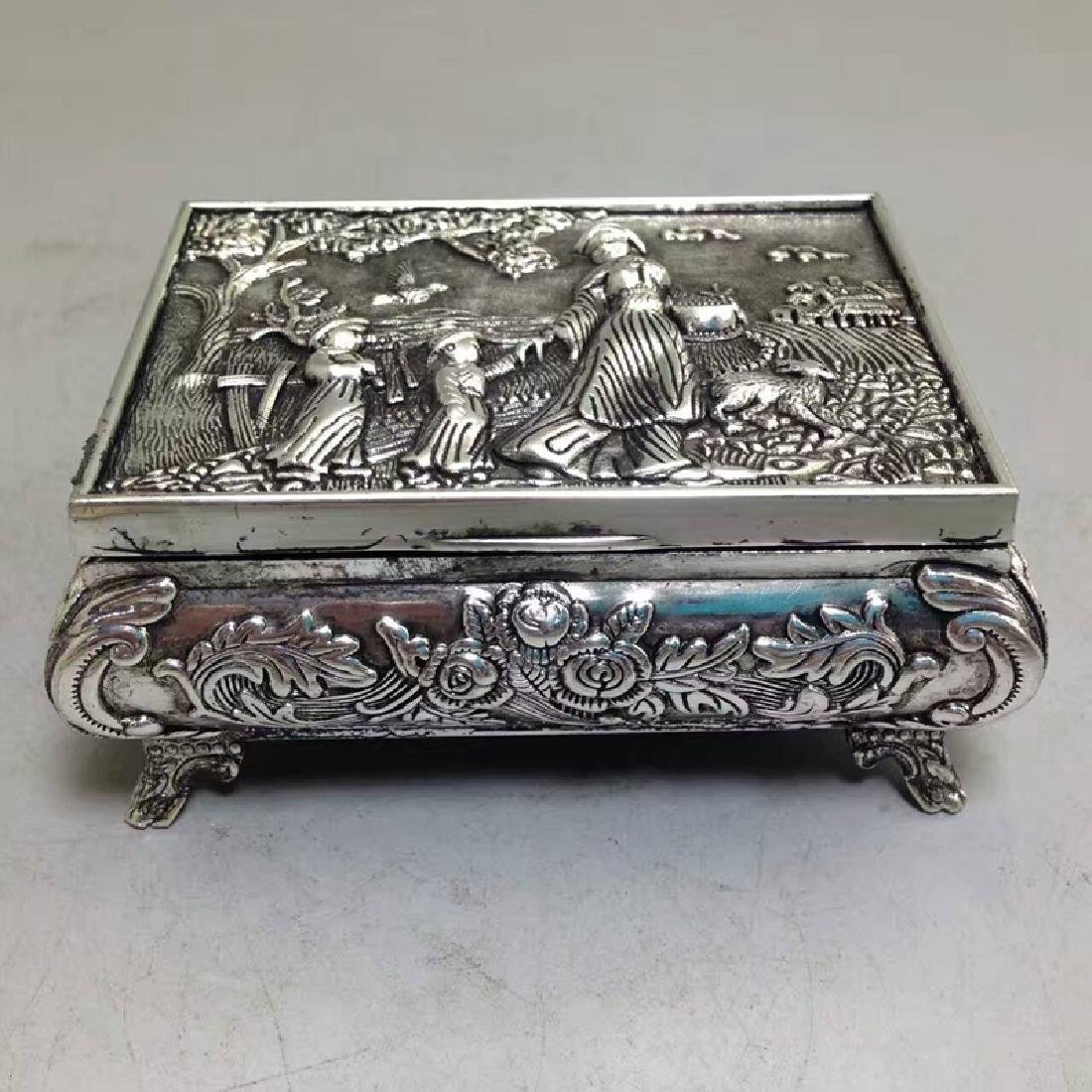 Chinese Antique Copper-Nickel Jewelry Box