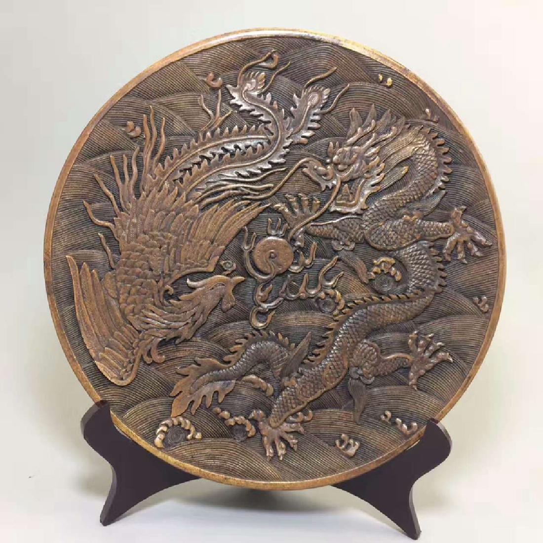 Chinese Antique Snowflake Onyx Plate With Dragon &