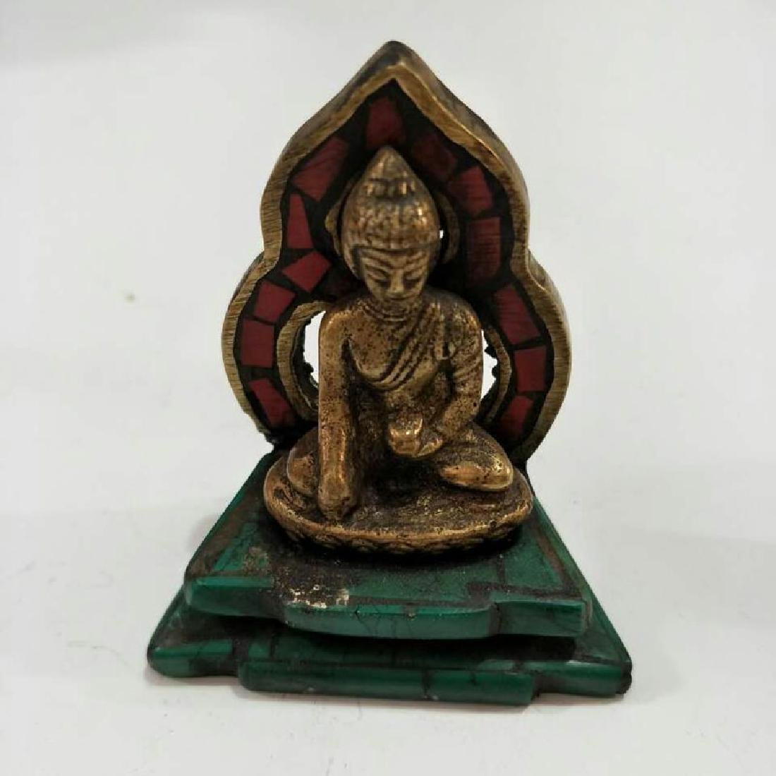 Chinese Antique Napel Turquoise & Brass Buddha Statue