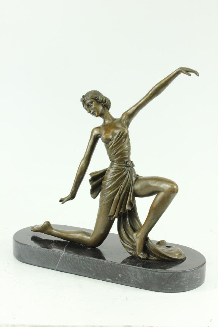 Hot Cast Bronze on Marble Nude Female Dancer Sculpture