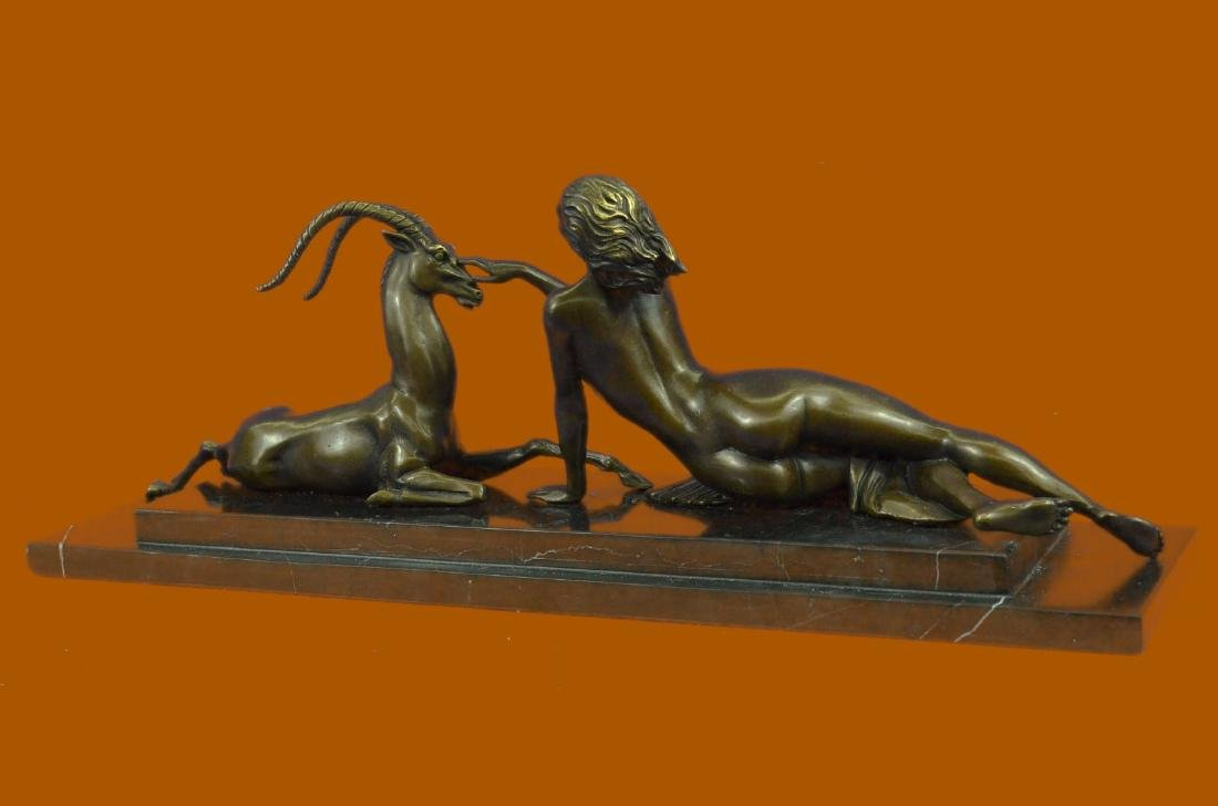 Bronze Sculpture Naked Girl w Goat Animal Lovers