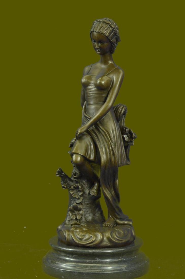 Pretty Young Roman Maiden Girl Bronze Statue Sculpture