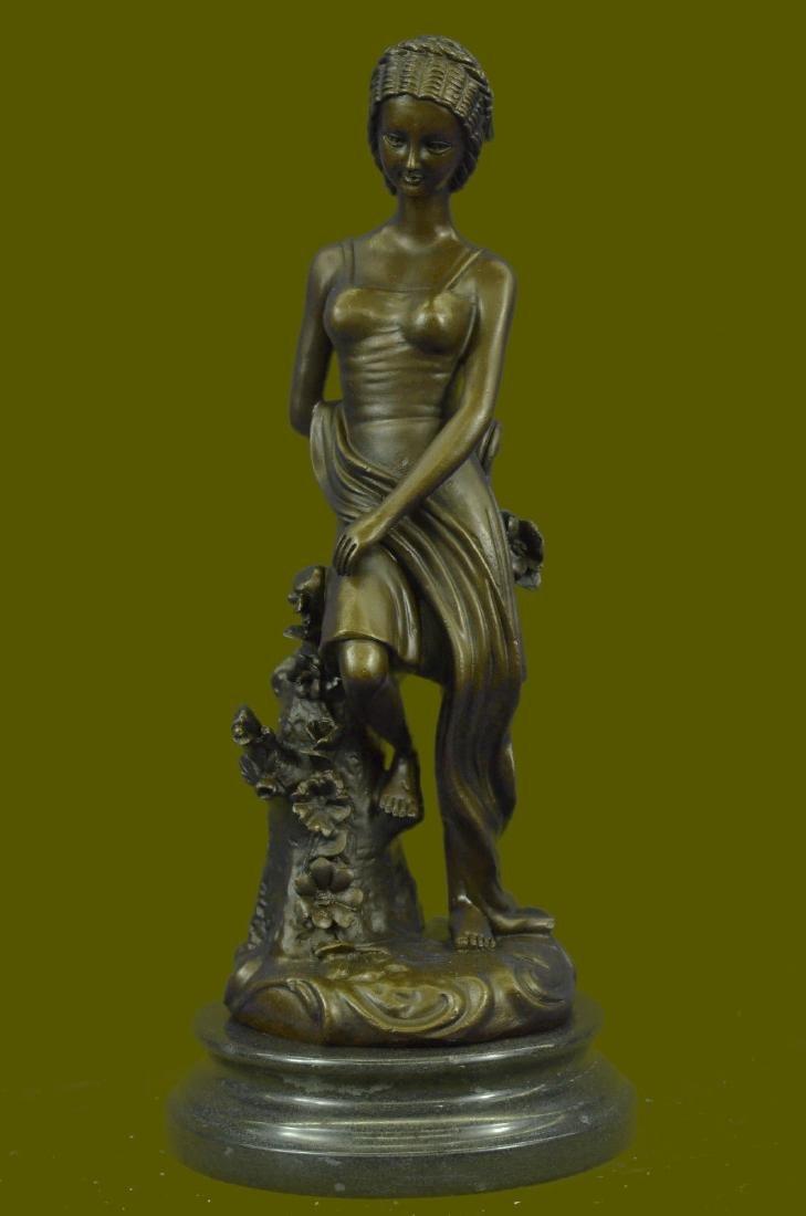 Pretty Young Roman Maiden Girl Bronze Statue Sculpture - 2