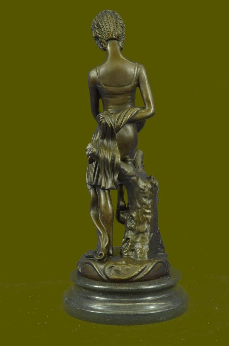 Pretty Young Roman Maiden Girl Bronze Statue Sculpture - 4