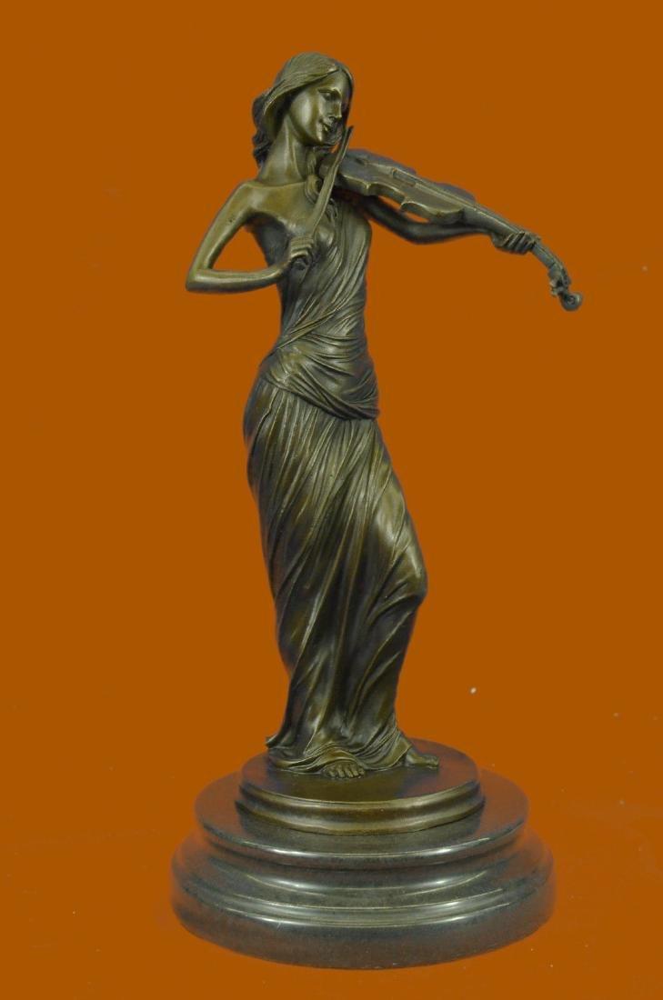 Art Nouveau Hot Cast Female Violin Player Bronze