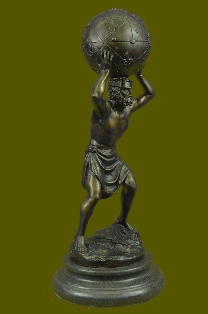 Greek Myth Giant Titan Atlas Globe Pure Bronze Art
