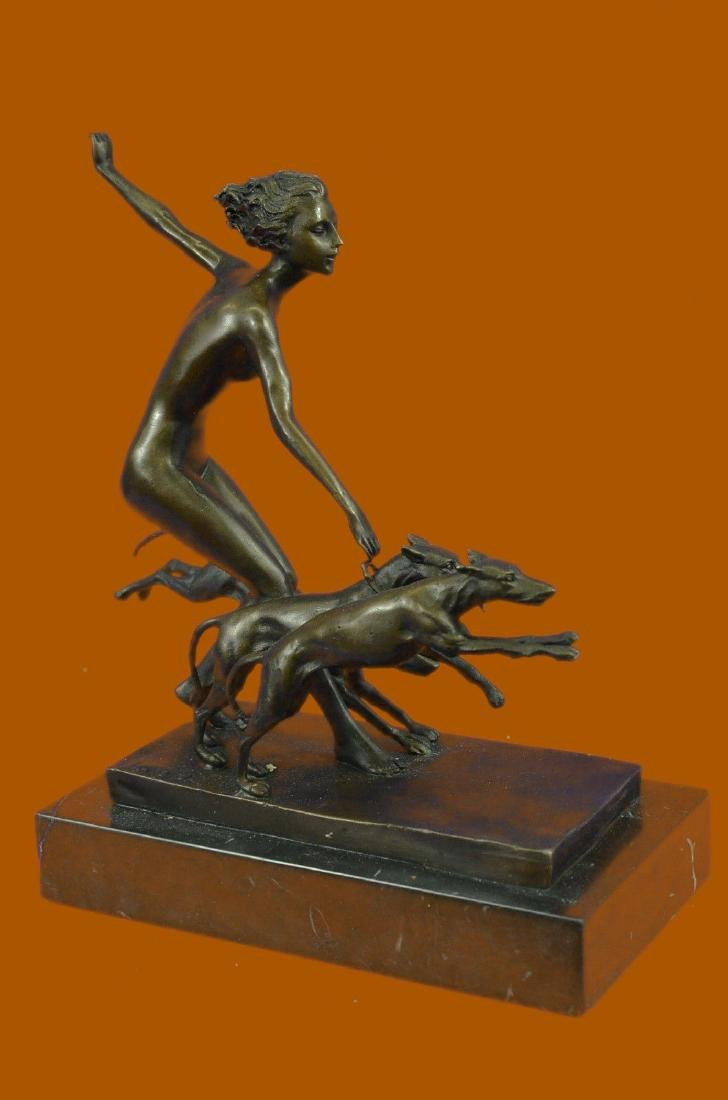 Viennese Art Deco Bronze Figure on a Marble Base Figure