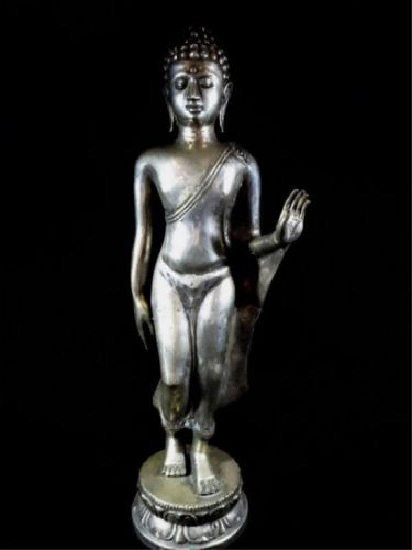Antique Pot Metal Buddha Sculpture on Base - 17 Inches