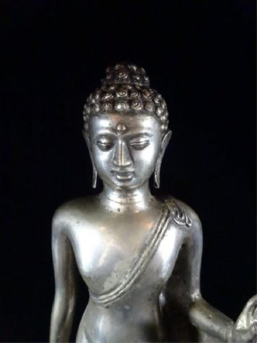 Antique Pot Metal Buddha Sculpture on Base - 17 Inches - 2