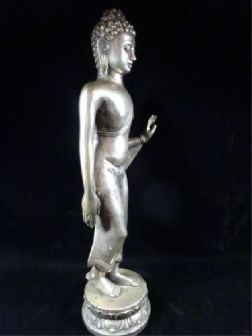 Antique Pot Metal Buddha Sculpture on Base - 17 Inches - 3