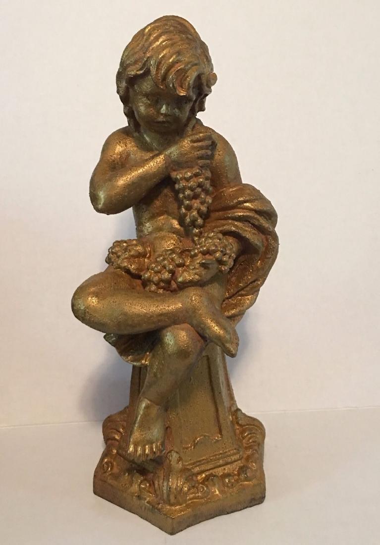 "Antique Gold Cherub Figurine 16"" Tall Statue Religious"
