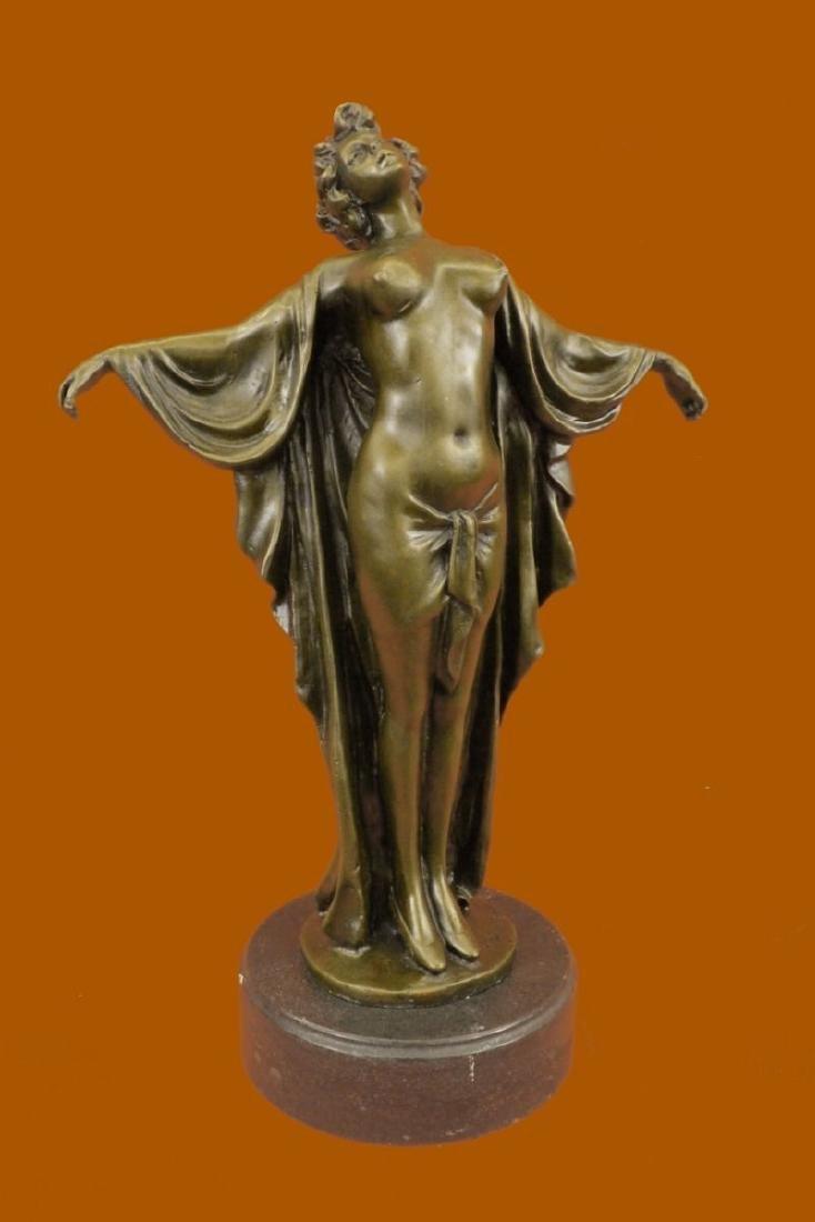 Deco Nude Girl Female Classic Bronze Sculpture Figurine