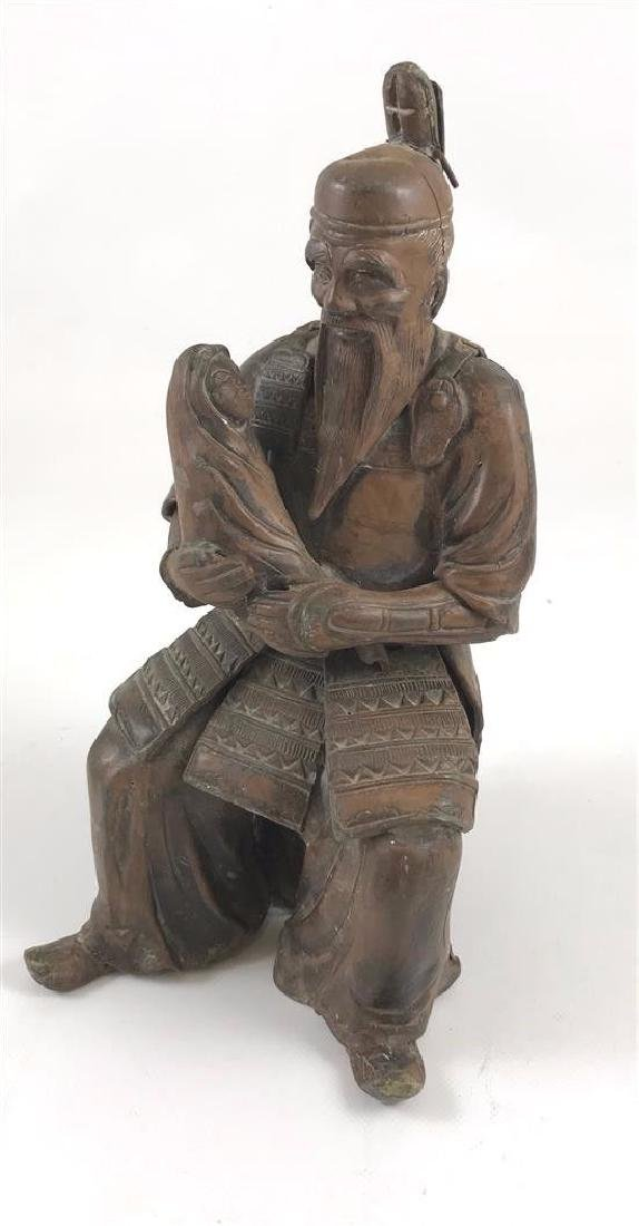 "Antique Bronzed Spelter 10.5"" Sculpture Of Asian"