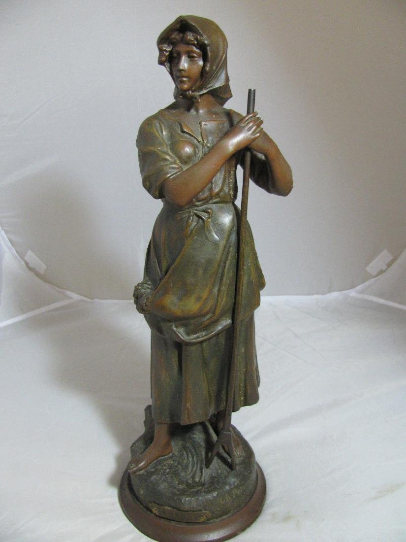 "ANTIQUE CHARLES PERRON METAL SCULPTURE ""FANEUSE"" with"