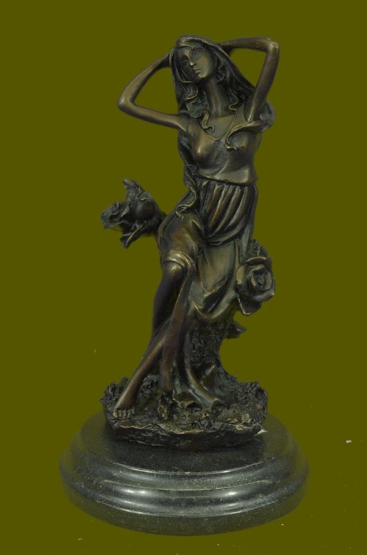 FRENCH ART DECO WOMAN BRONZE STATUE NUDE SCULPTURE HOT