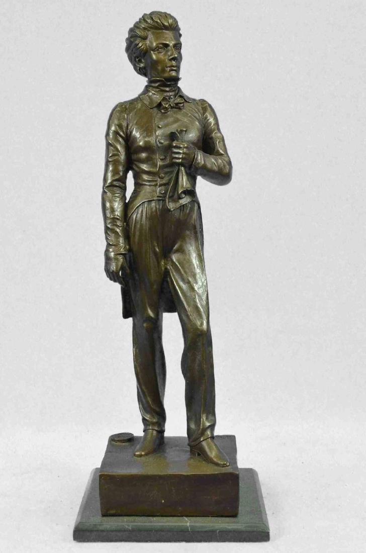 "Bronze Sculpture of 19th Century Man 17"" x 6"""