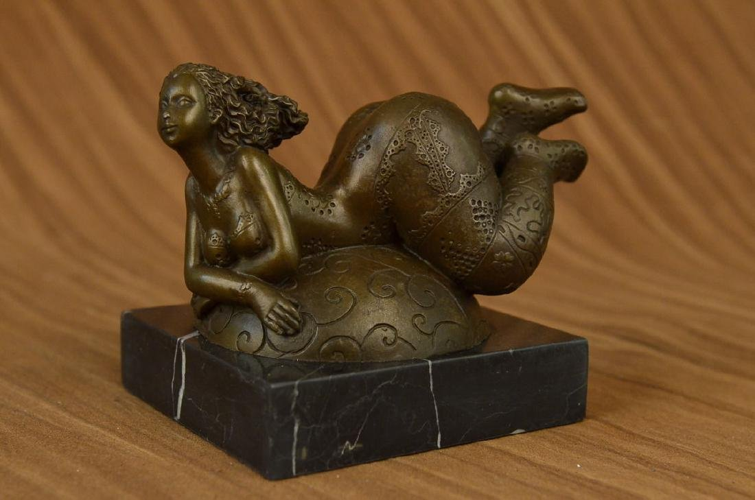 SIGNED BRONZE SCULPTURE CUBISM NUDE GIRL ABSTRACT