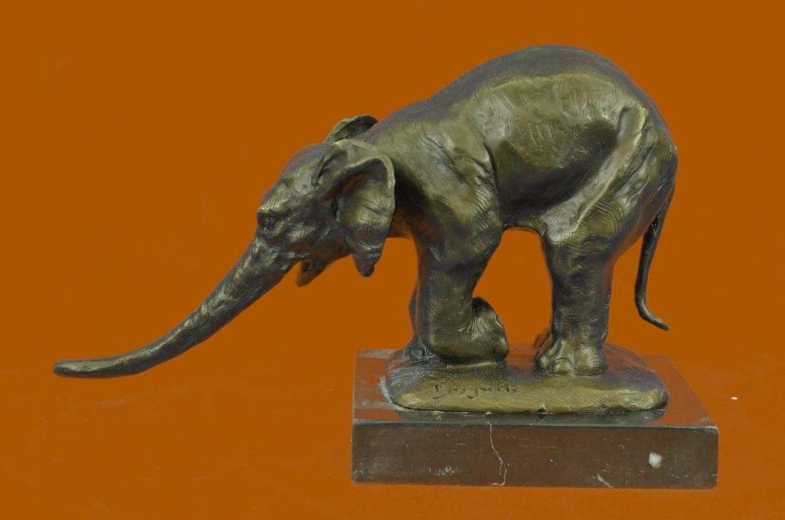 Sculpture Signed Bugatti Animal Kingdom Mother Elephant