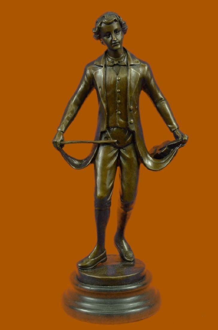 Taking Bow Besserdich Bronze Sculpture Marble Base