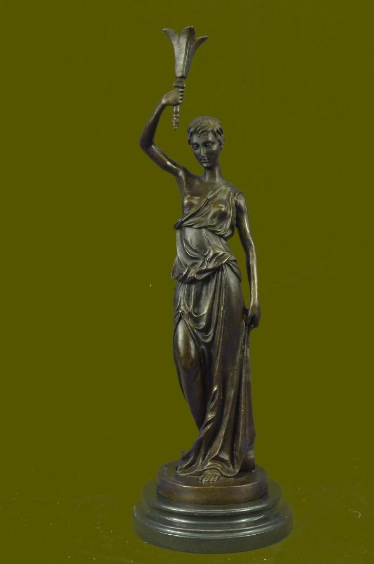 Handcrafted Victorian Female Tulip Bronze Sculpture