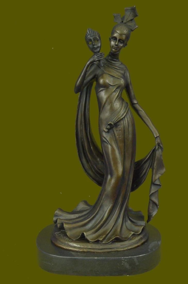 Handmade Woman Holding Mask Bronze Sculpture Marble