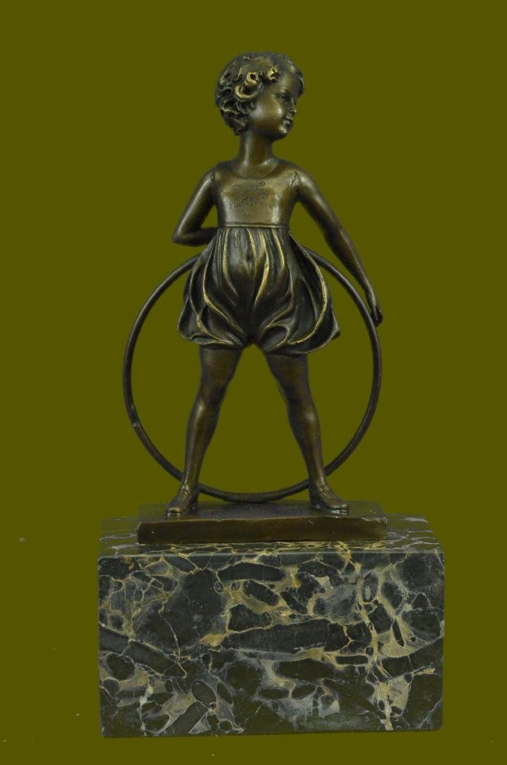 Bronze Sculpture Home Decor Statue Young Girl Hoop