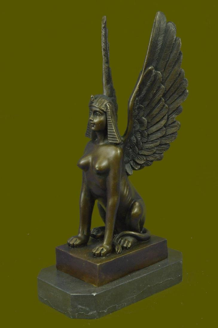 SIGNED BRONZE SCULPTURE SPHINX STATTUTE STATUE ON